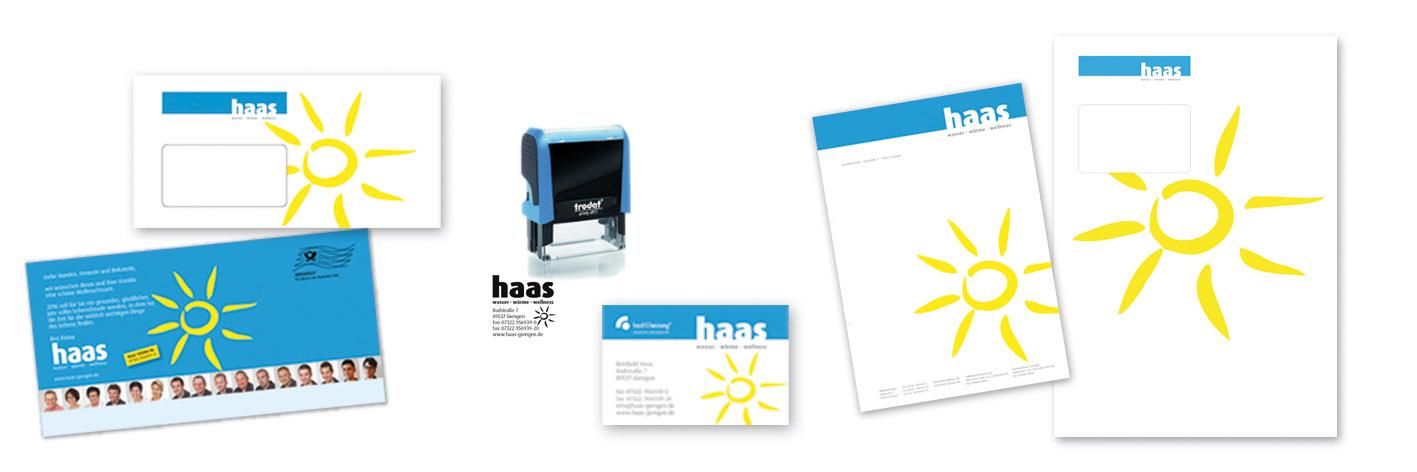 Machen Sie es wie die Firma Haas: Überzeugen Sie mit einem komplett gestalteten Firmenauftritt. Hier sehen Sie übrigens nur einen kleinen Teil der Druckprodukte für Haas. Wichtig: Ihr Corporate Image kann stückchenweise wachsen – Sie müssen anfangs nicht gleich in die Vollen greifen.